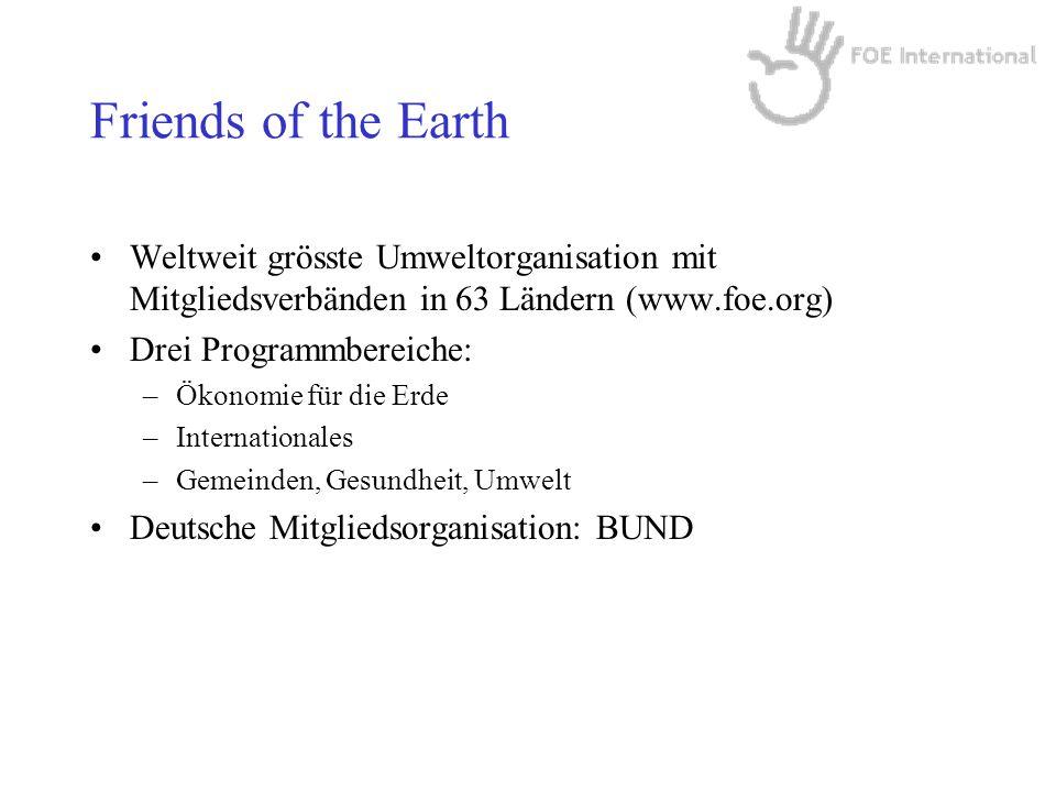 Friends of the Earth Weltweit grösste Umweltorganisation mit Mitgliedsverbänden in 63 Ländern (www.foe.org)