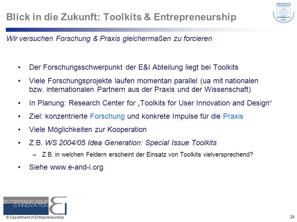 Blick in die Zukunft: Toolkits & Entrepreneurship