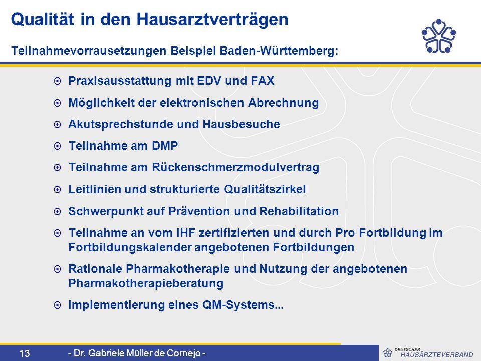 Qualität in den Hausarztverträgen Teilnahmevorrausetzungen Beispiel Baden-Württemberg: