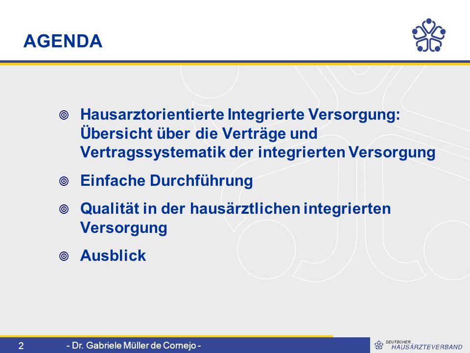 AGENDA Hausarztorientierte Integrierte Versorgung: Übersicht über die Verträge und Vertragssystematik der integrierten Versorgung.