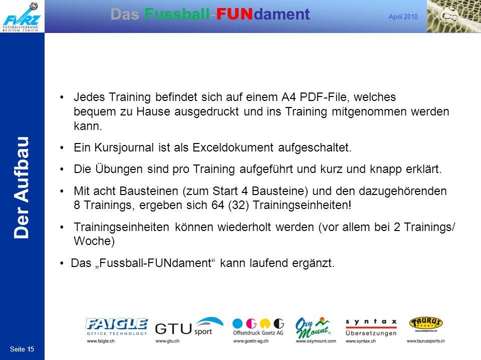 Der Aufbau • Jedes Training befindet sich auf einem A4 PDF-File, welches bequem zu Hause ausgedruckt und ins Training mitgenommen werden kann.