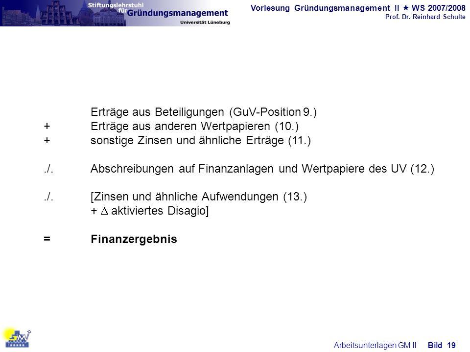 Erträge aus Beteiligungen (GuV-Position 9.)
