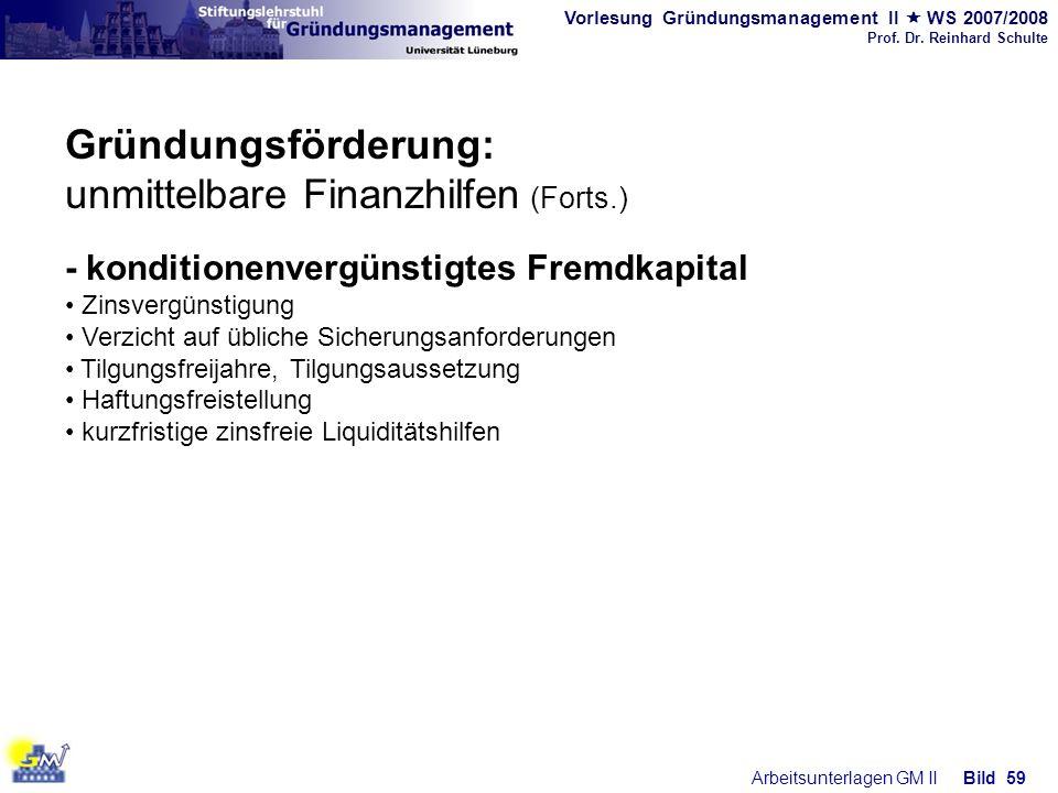 Gründungsförderung: unmittelbare Finanzhilfen (Forts.)