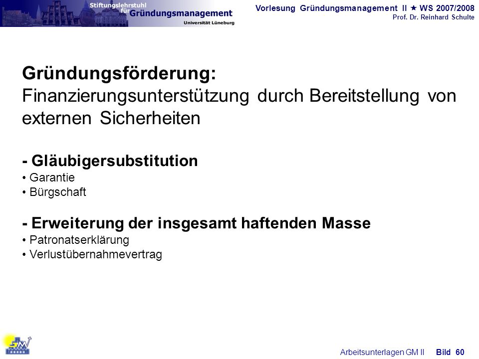 Gründungsförderung: Finanzierungsunterstützung durch Bereitstellung von externen Sicherheiten