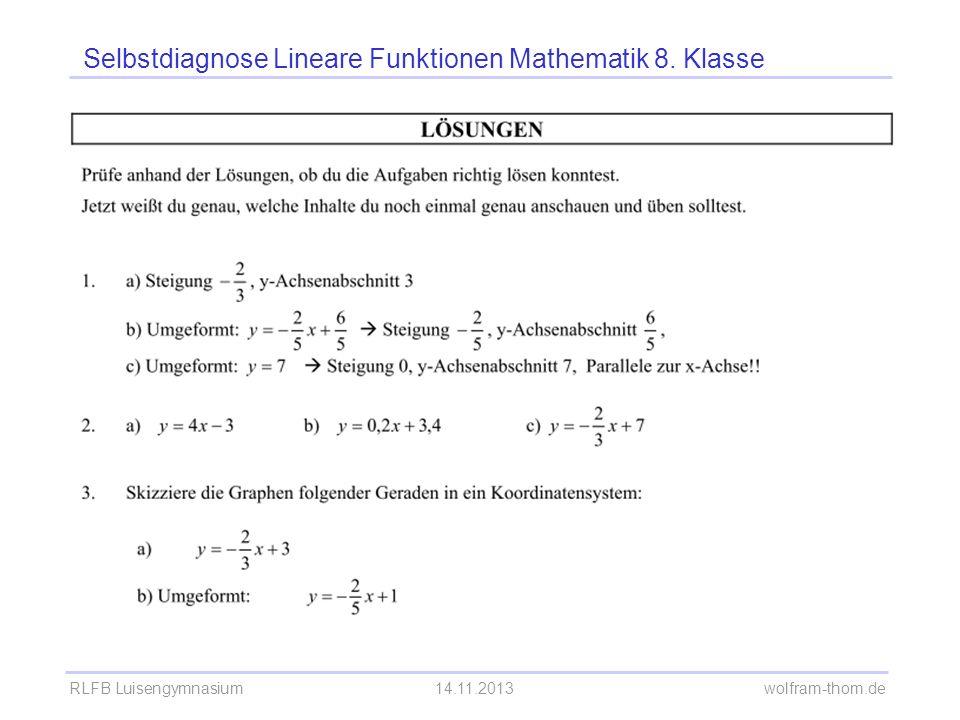 Selbstdiagnose Lineare Funktionen Mathematik 8. Klasse