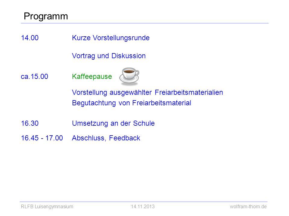 Programm 14.00 Kurze Vorstellungsrunde Vortrag und Diskussion ca.15.00