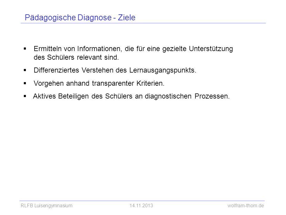 Pädagogische Diagnose - Ziele