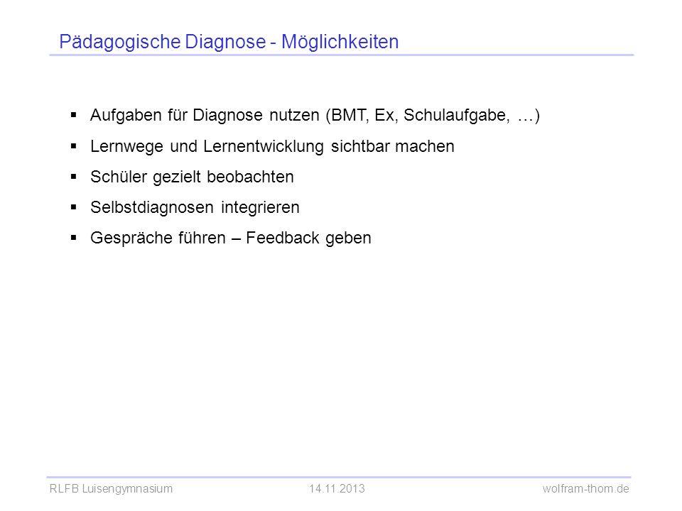 Pädagogische Diagnose - Möglichkeiten