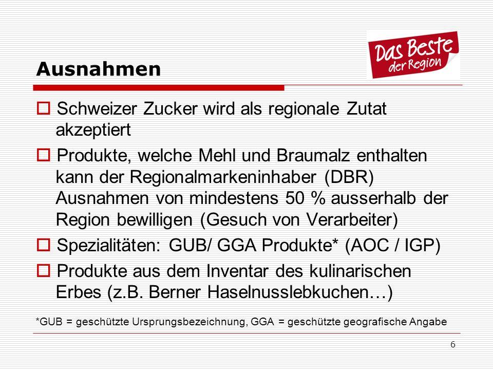 Ausnahmen Schweizer Zucker wird als regionale Zutat akzeptiert