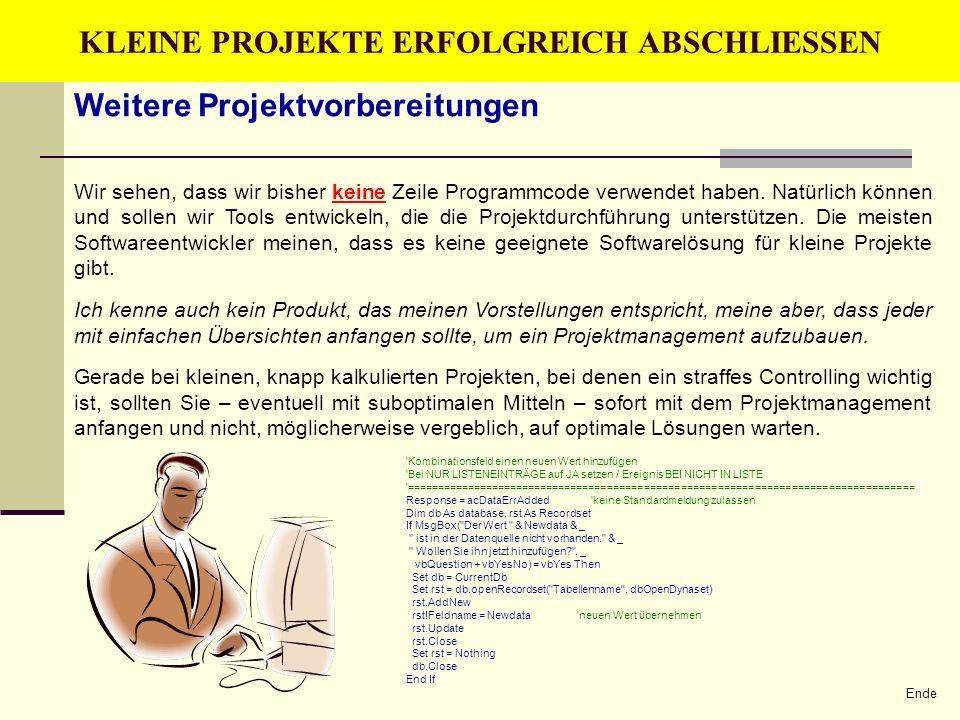 KLEINE PROJEKTE ERFOLGREICH ABSCHLIESSEN