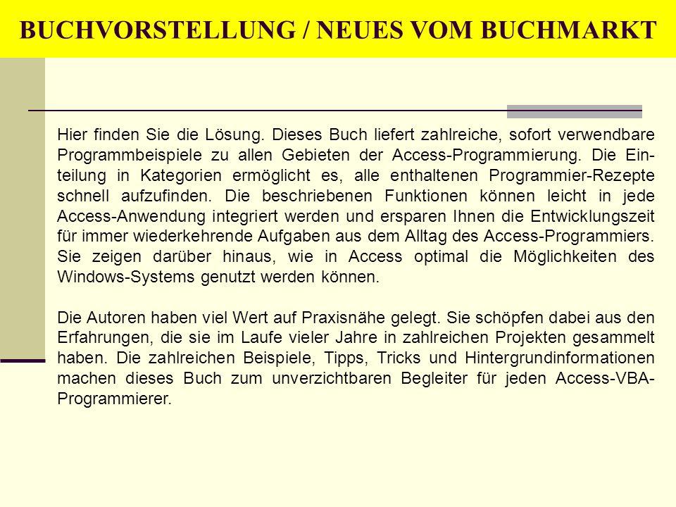 BUCHVORSTELLUNG / NEUES VOM BUCHMARKT