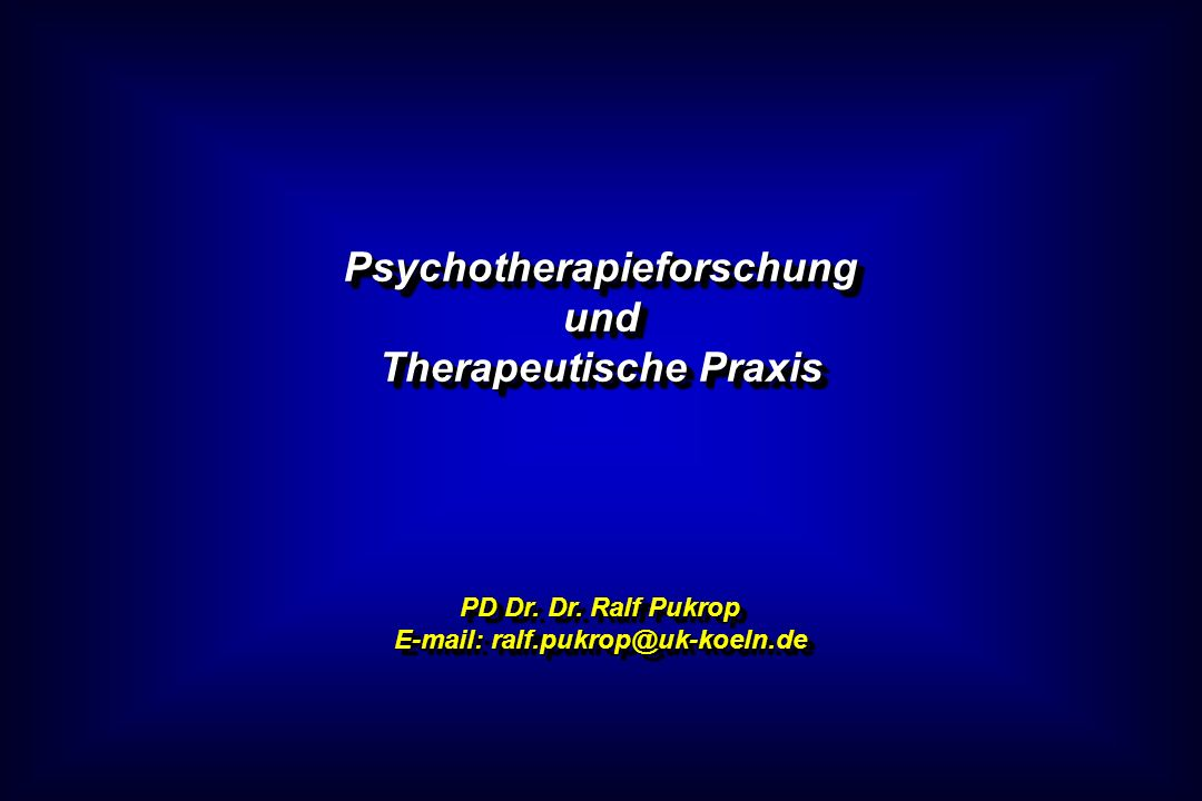 Psychotherapieforschung und Therapeutische Praxis