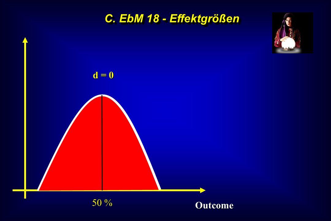 C. EbM 18 - Effektgrößen d = 0 50 % Outcome