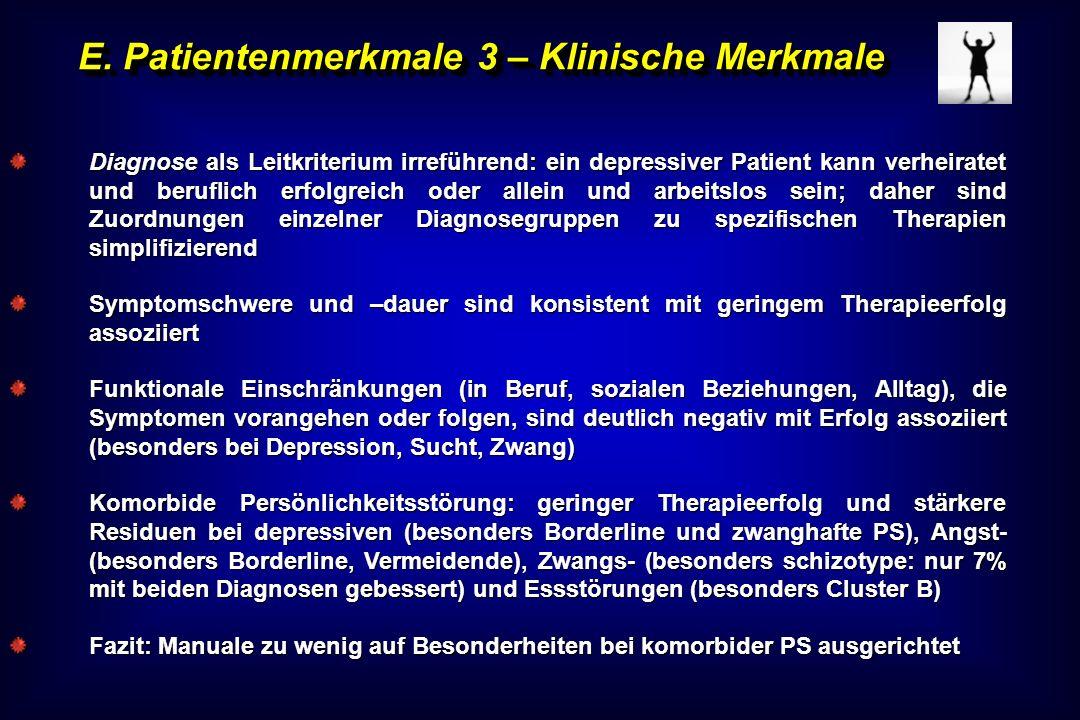 E. Patientenmerkmale 3 – Klinische Merkmale