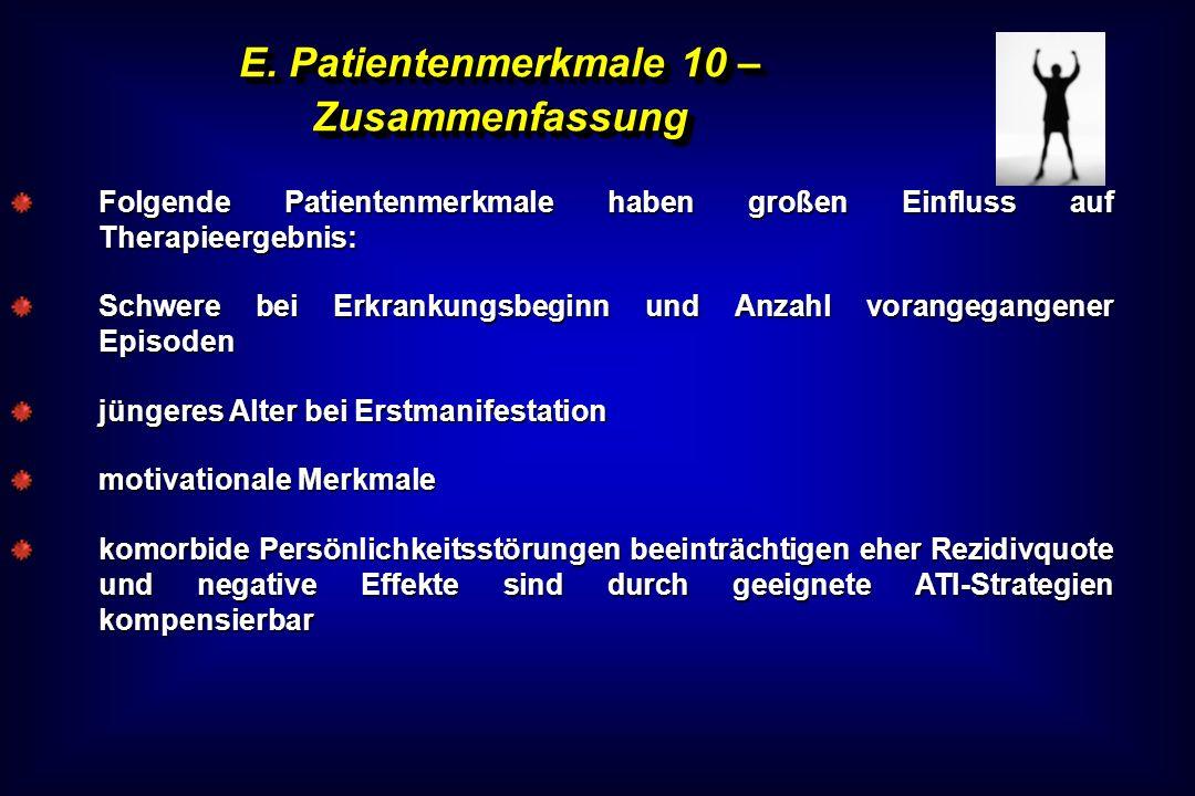 E. Patientenmerkmale 10 – Zusammenfassung