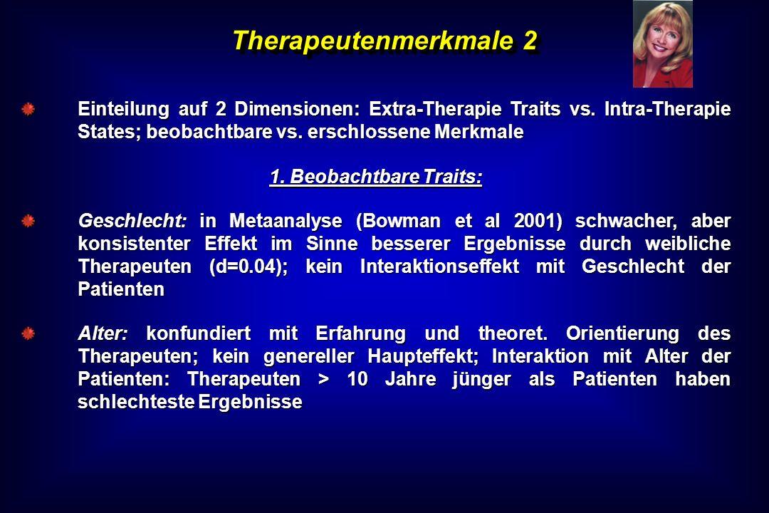 Therapeutenmerkmale 2 Einteilung auf 2 Dimensionen: Extra-Therapie Traits vs. Intra-Therapie States; beobachtbare vs. erschlossene Merkmale.