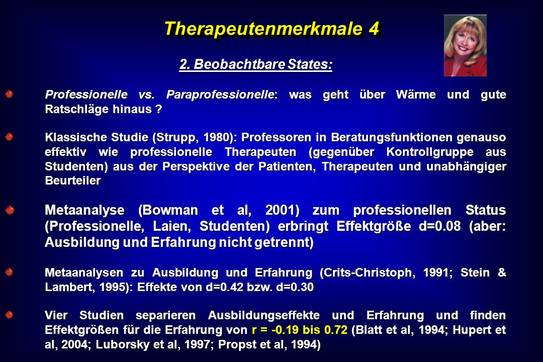 Therapeutenmerkmale 4 2. Beobachtbare States: