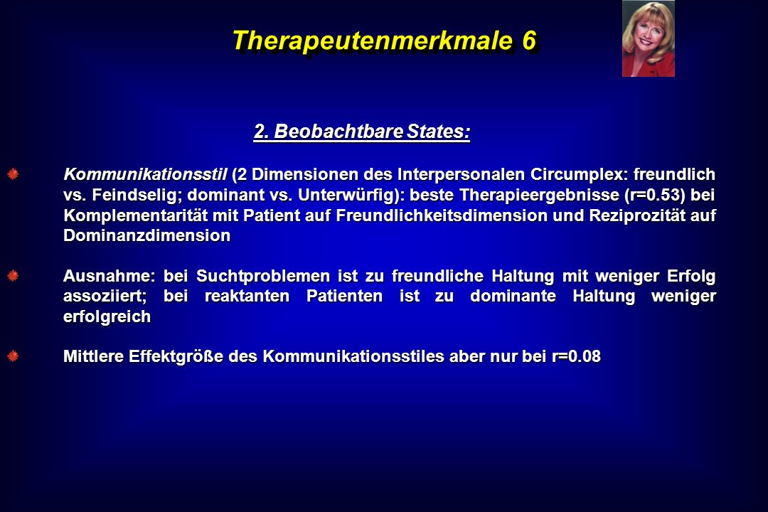 Therapeutenmerkmale 6 2. Beobachtbare States: