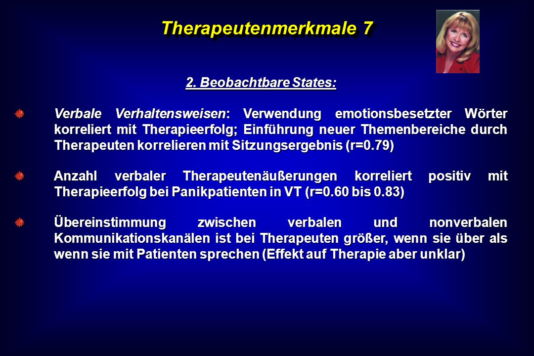 Therapeutenmerkmale 7 2. Beobachtbare States: