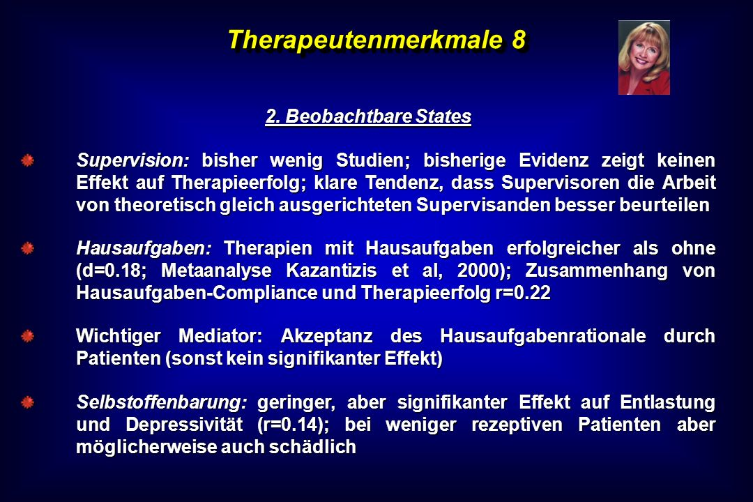 Therapeutenmerkmale 8 2. Beobachtbare States