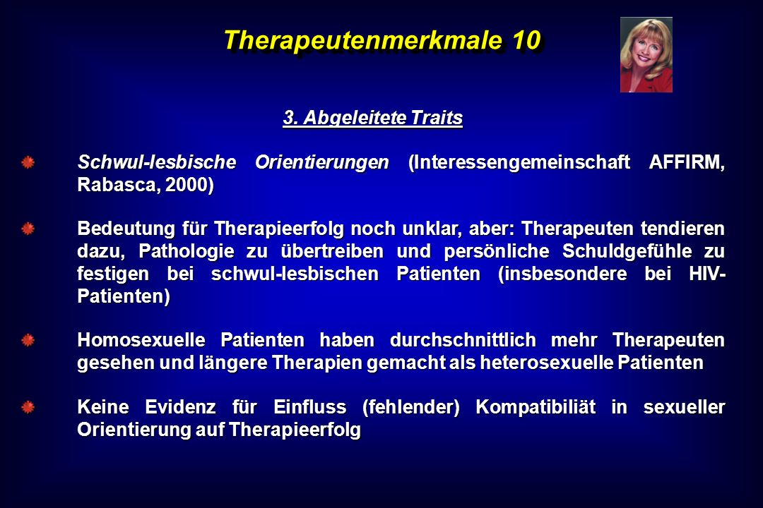 Therapeutenmerkmale 10 3. Abgeleitete Traits