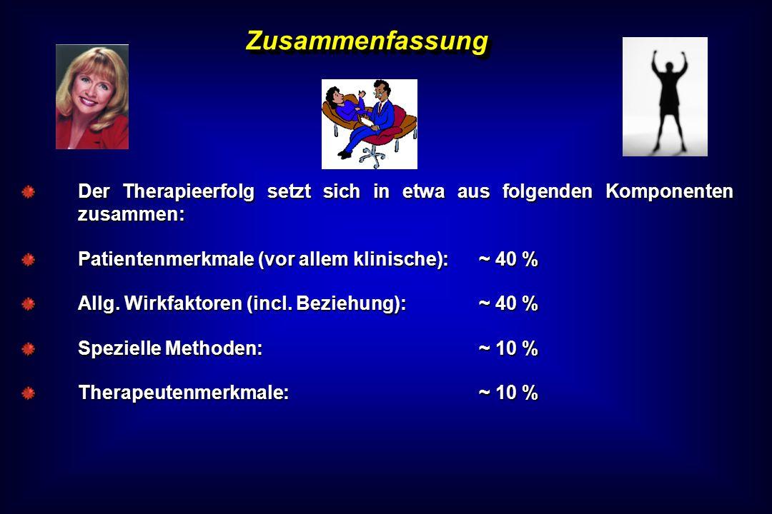 ZusammenfassungDer Therapieerfolg setzt sich in etwa aus folgenden Komponenten zusammen: Patientenmerkmale (vor allem klinische): ~ 40 %