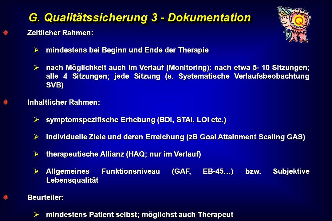 G. Qualitätssicherung 3 - Dokumentation