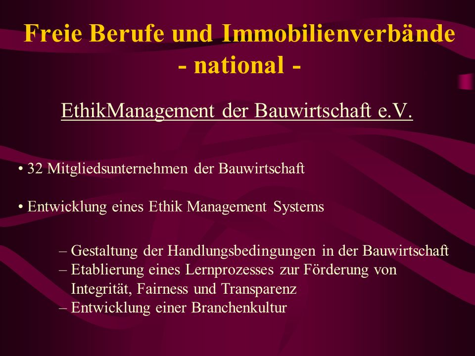 Freie Berufe und Immobilienverbände - national -