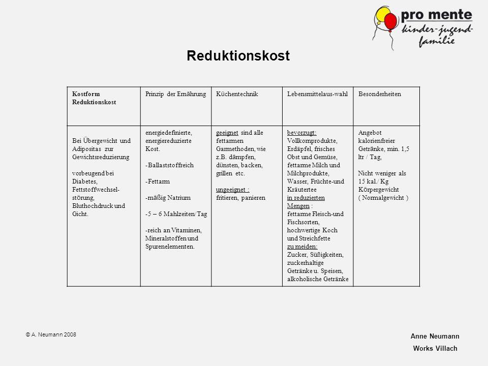 Reduktionskost Kostform Reduktionskost Prinzip der Ernährung