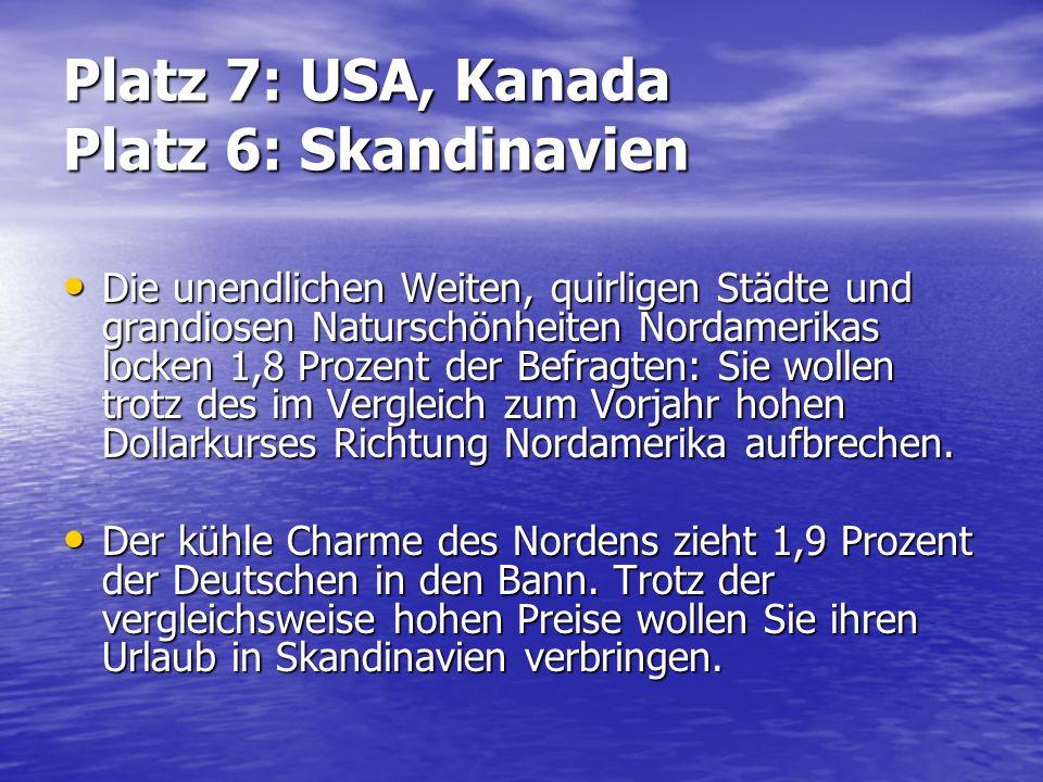 Platz 7: USA, Kanada Platz 6: Skandinavien