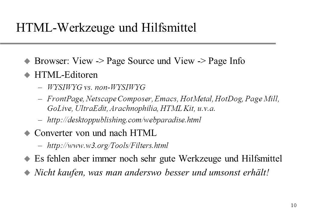 HTML-Werkzeuge und Hilfsmittel