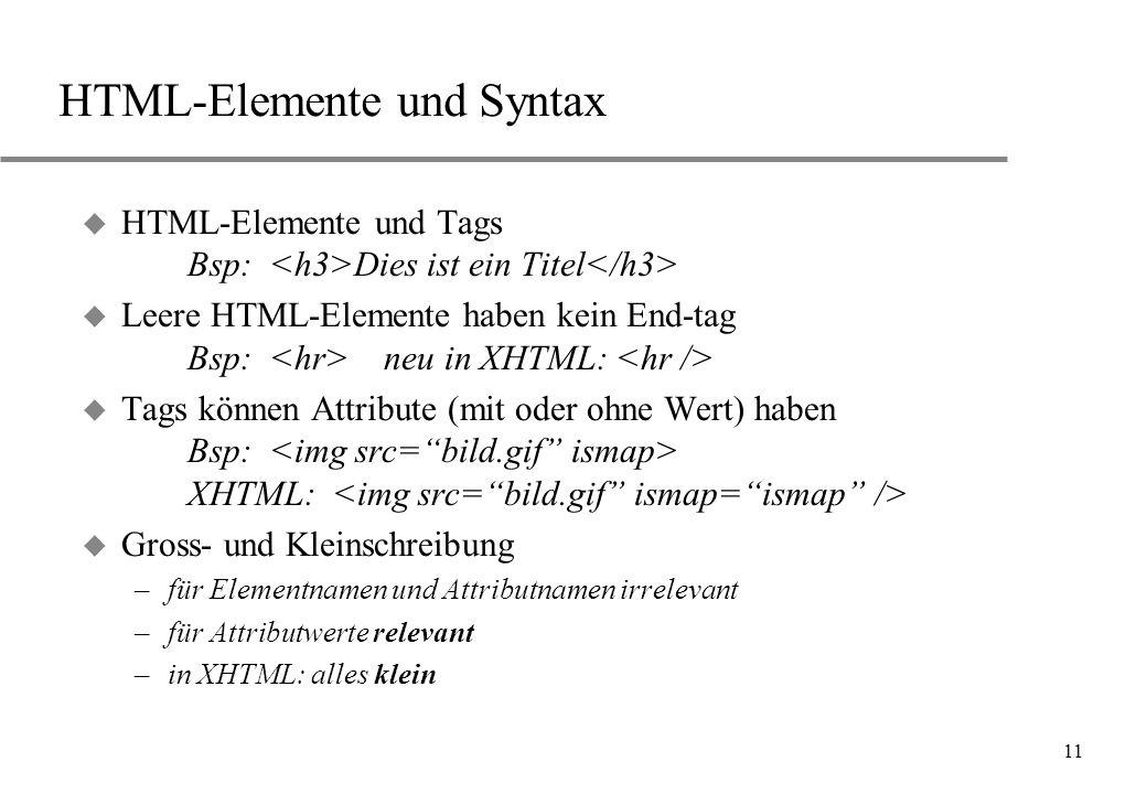 HTML-Elemente und Syntax