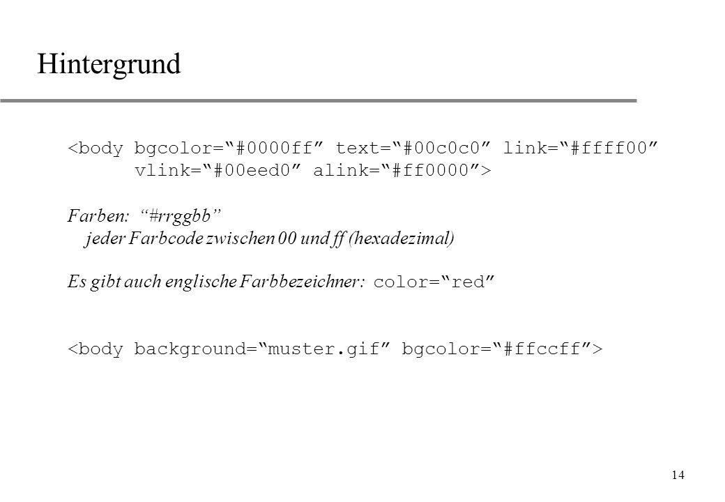 Hintergrund <body bgcolor= #0000ff text= #00c0c0 link= #ffff00 vlink= #00eed0 alink= #ff0000 >