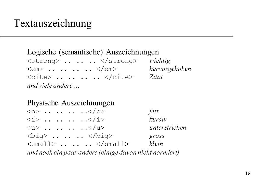 Textauszeichnung Logische (semantische) Auszeichnungen