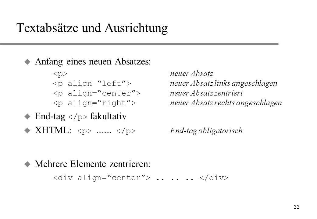 Textabsätze und Ausrichtung