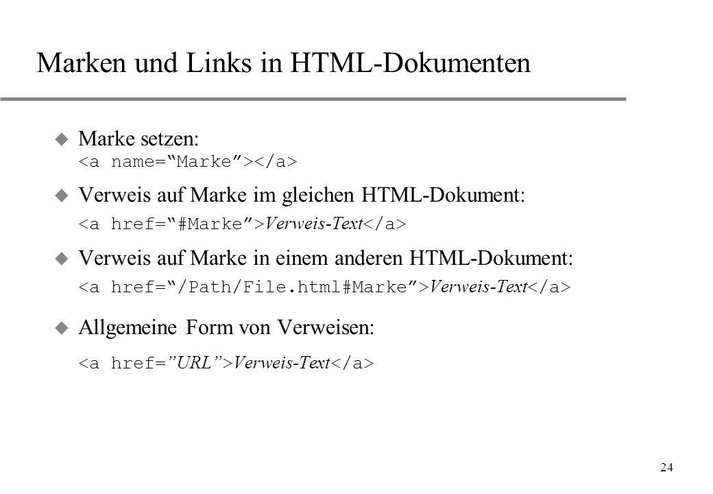 Marken und Links in HTML-Dokumenten