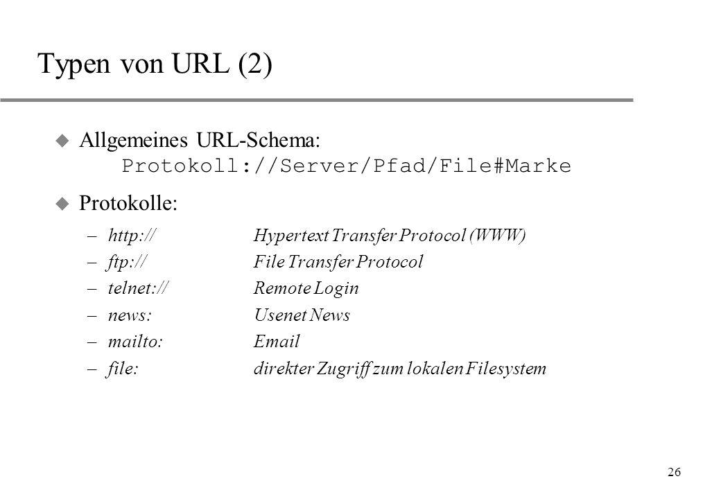 Typen von URL (2) Allgemeines URL-Schema: Protokoll://Server/Pfad/File#Marke. Protokolle: http:// Hypertext Transfer Protocol (WWW)