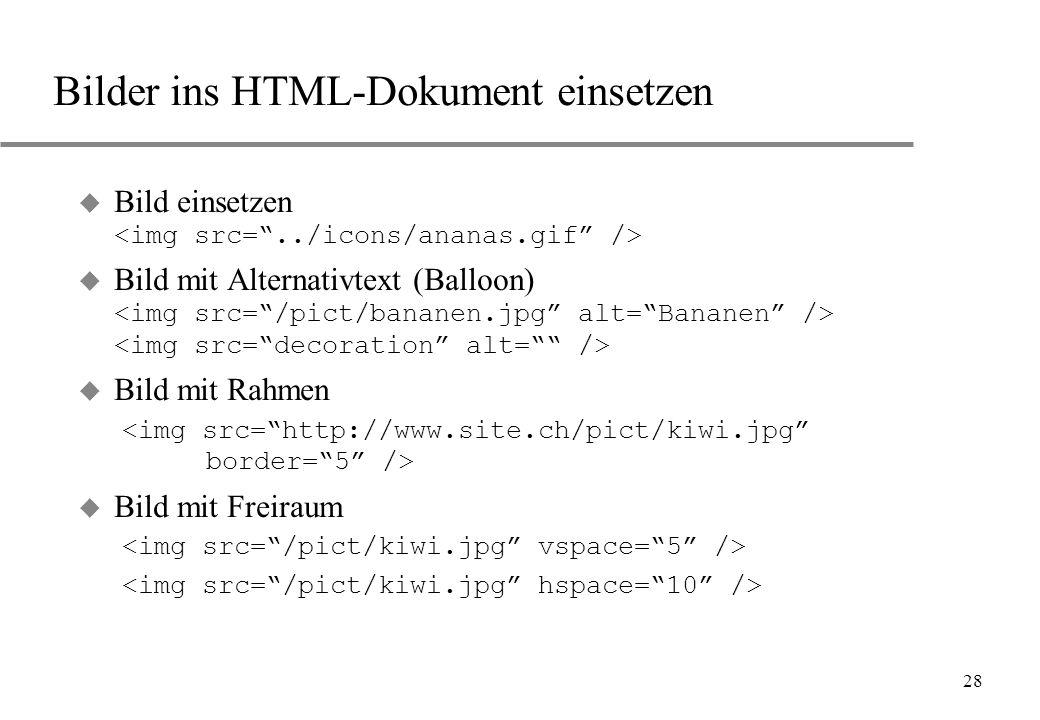 Bilder ins HTML-Dokument einsetzen