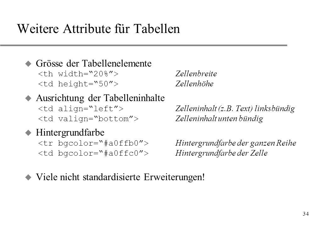 Weitere Attribute für Tabellen