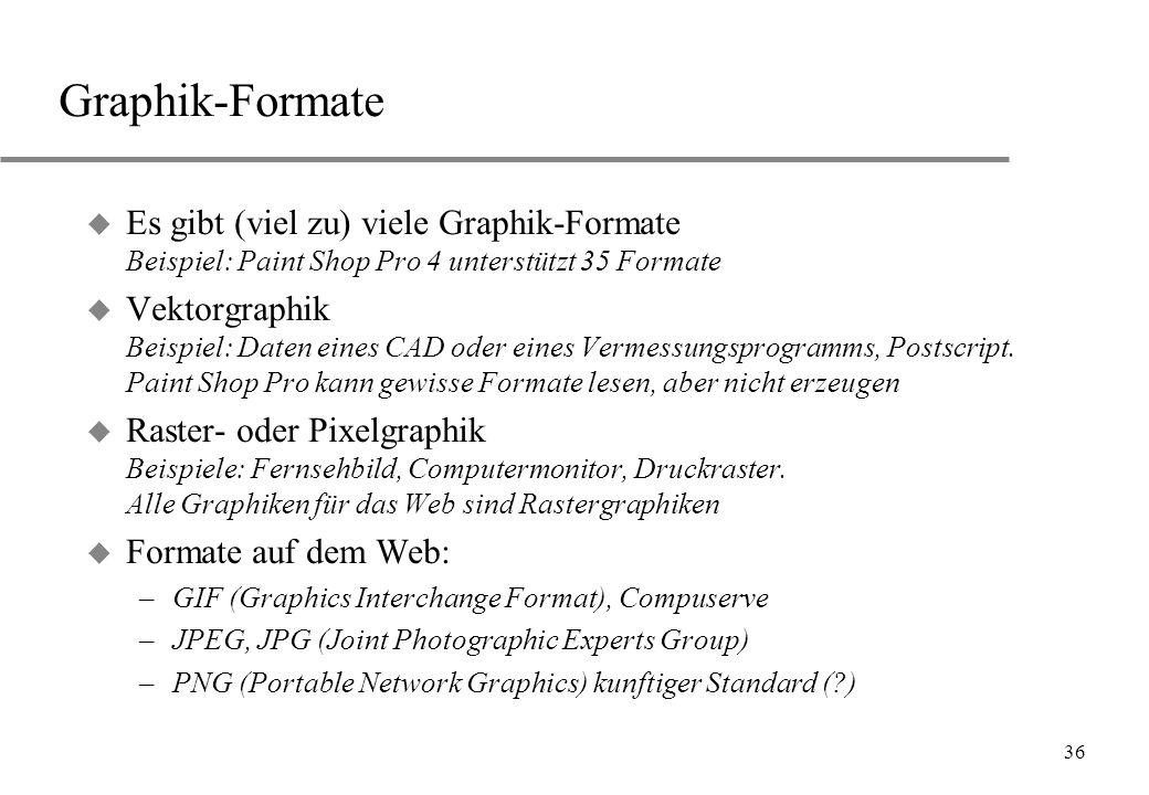 Graphik-Formate Es gibt (viel zu) viele Graphik-Formate Beispiel: Paint Shop Pro 4 unterstützt 35 Formate.