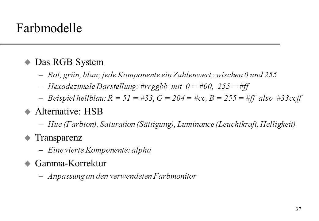 Farbmodelle Das RGB System Alternative: HSB Transparenz