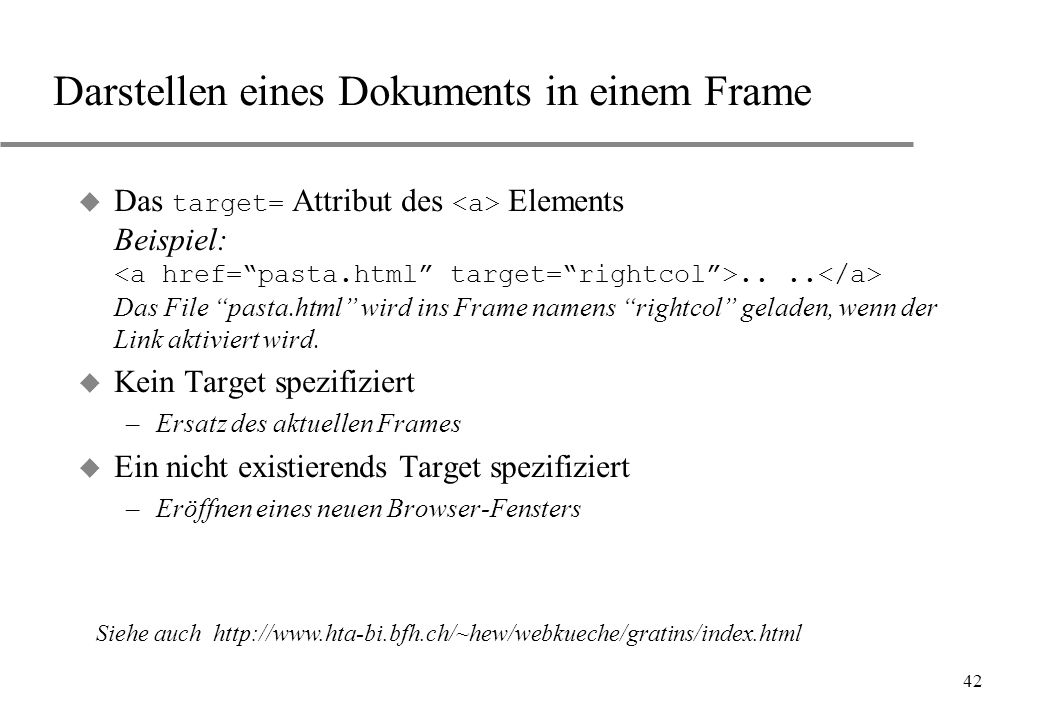 Darstellen eines Dokuments in einem Frame