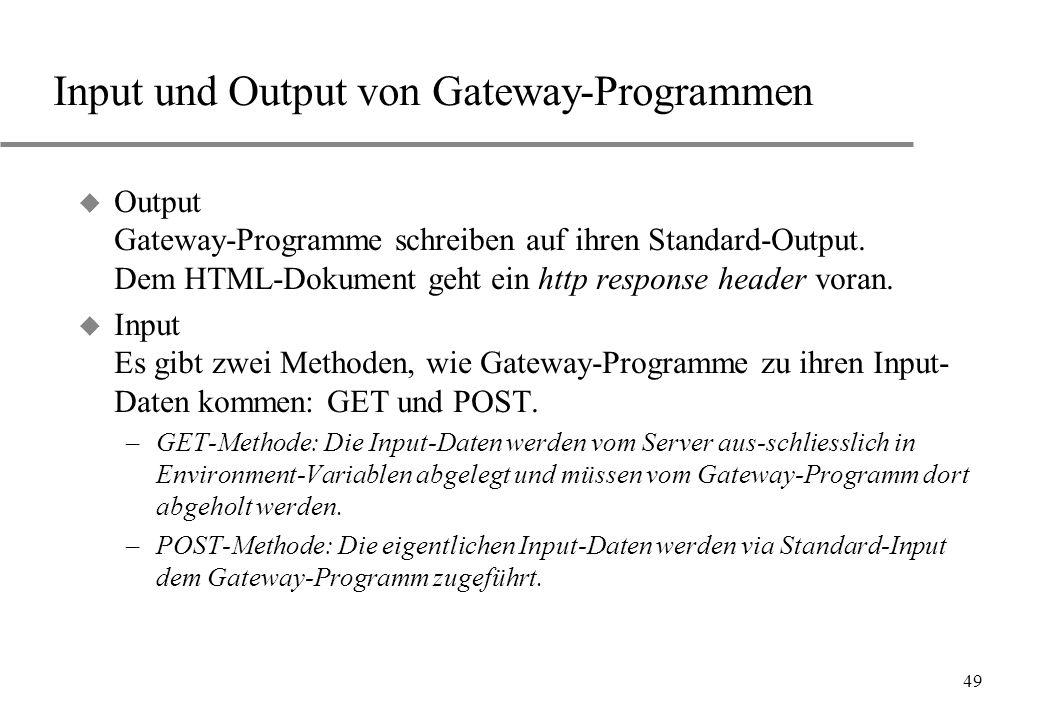 Input und Output von Gateway-Programmen