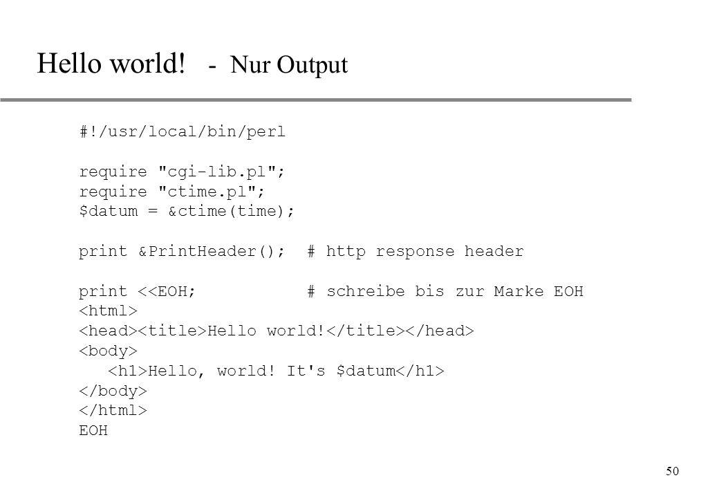 Hello world! - Nur Output