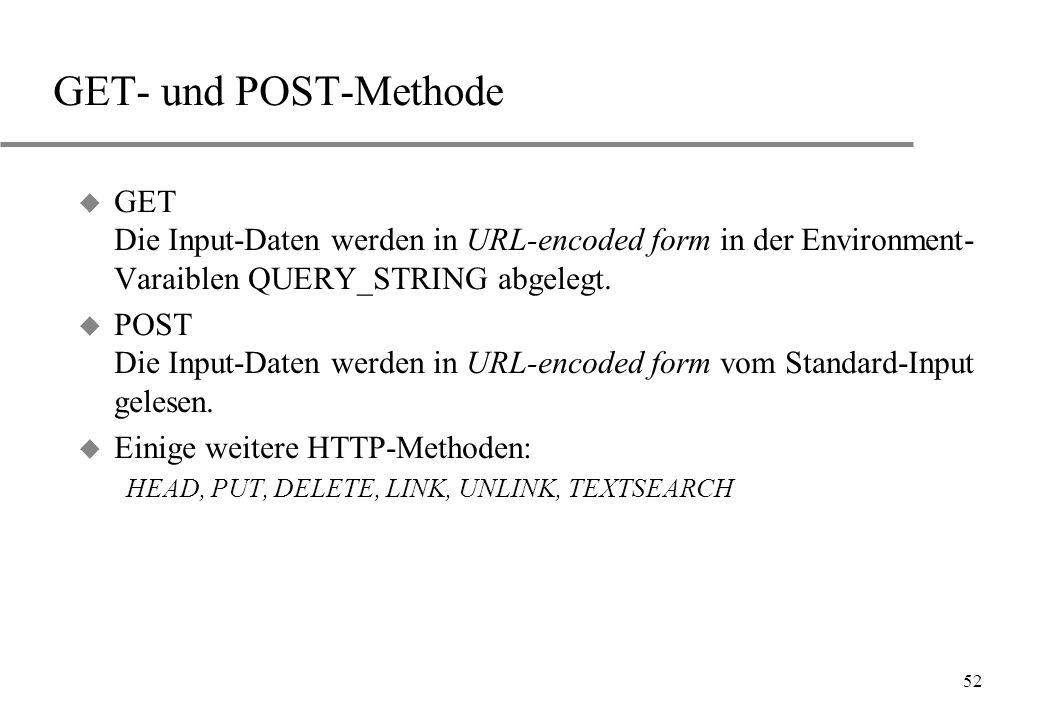 GET- und POST-Methode GET Die Input-Daten werden in URL-encoded form in der Environment-Varaiblen QUERY_STRING abgelegt.