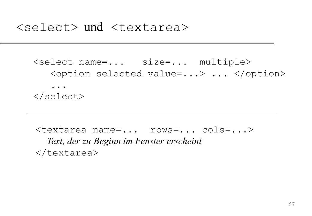 <select> und <textarea>