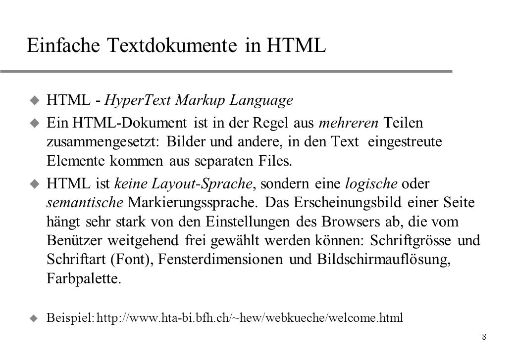 Einfache Textdokumente in HTML