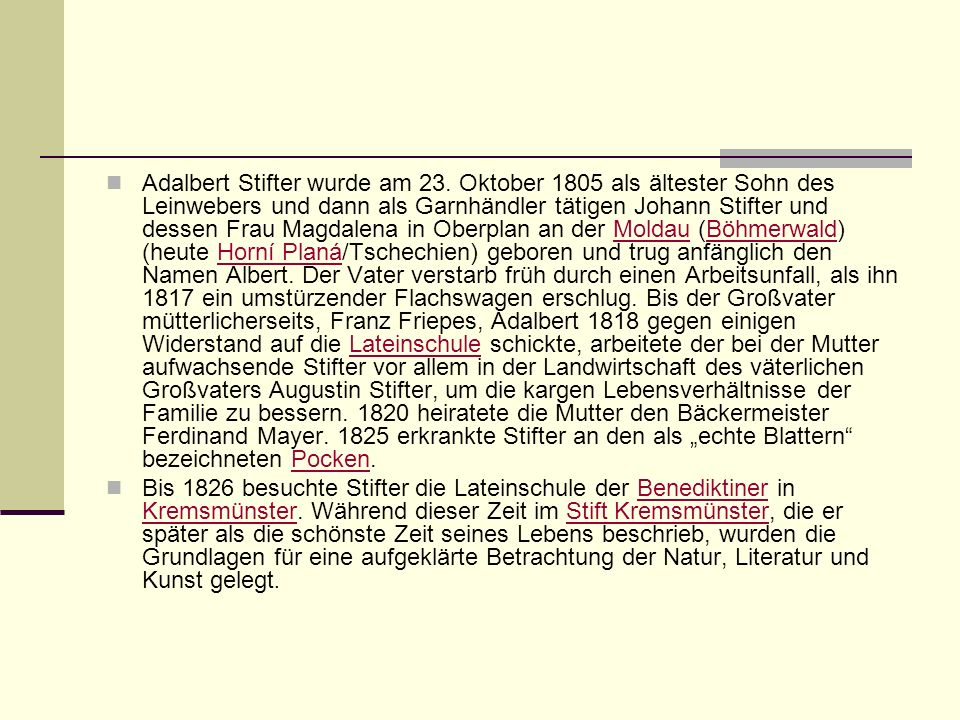 Adalbert Stifter wurde am 23