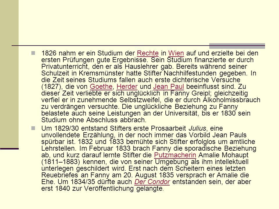 1826 nahm er ein Studium der Rechte in Wien auf und erzielte bei den ersten Prüfungen gute Ergebnisse. Sein Studium finanzierte er durch Privatunterricht, den er als Hauslehrer gab. Bereits während seiner Schulzeit in Kremsmünster hatte Stifter Nachhilfestunden gegeben. In die Zeit seines Studiums fallen auch erste dichterische Versuche (1827), die von Goethe, Herder und Jean Paul beeinflusst sind. Zu dieser Zeit verliebte er sich unglücklich in Fanny Greipl; gleichzeitig verfiel er in zunehmende Selbstzweifel, die er durch Alkoholmissbrauch zu verdrängen versuchte. Die unglückliche Beziehung zu Fanny belastete auch seine Leistungen an der Universität, bis er 1830 sein Studium ohne Abschluss abbrach.