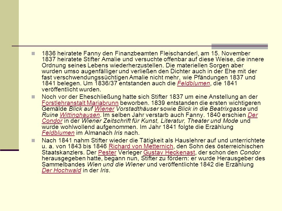 1836 heiratete Fanny den Finanzbeamten Fleischanderl, am 15
